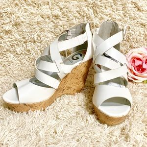 Guess White Wedge Sandals